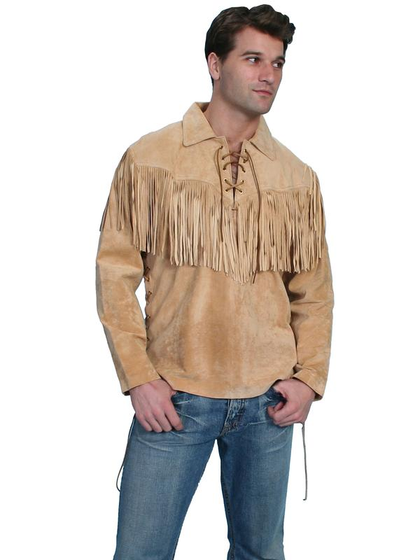 Scully Men's Leather Shirt: Casual Suede Fringe Trapper Shirt Bourbon M-2X