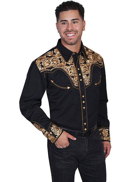 f7c812a2aad ... Scully Men s Vintage Western Shirt  The Gunfighter Black   Gold ...