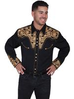Scully Men's Vintage Western Shirt: The Gunfighter Black & Gold