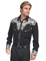 Scully Men's Vintage Western Shirt: The Gunfighter Black & Silver