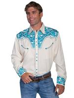 ZSold Scully Men's Vintage Western Shirt: The Gunfighter Cream & Turquoise S-2X Big/Tall 3X-4X SOLD