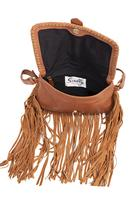 Scully Leather Shoulder Bag: Western Fringe Suede and Leather Palomino