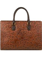 Scully Leather Shoulder Bag: Western Equestrian Inspired Embossed Branches Satchel