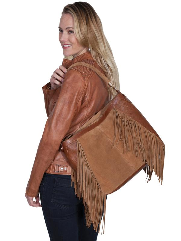 Scully Leather Shoulder Bag: Western Fringe Beige Shoulder Bag