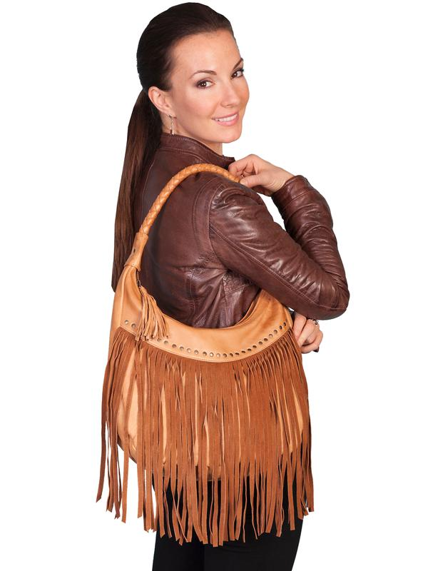 Scully Leather Shoulder Bag: Western Fringe and Rivets
