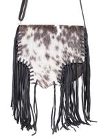 Scully Leather Shoulder Bag: Western Fringe Hair on Hide Black