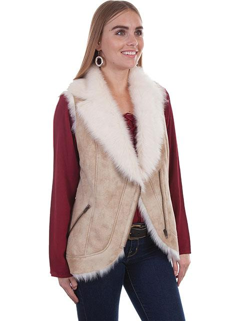 Scully Ladies' Honey Creek Faux Fur Vest: Shearling Zip Front