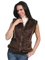 Scully Ladies' Honey Creek Faux Fur Vest: Faux Shearling Espresso S-XL