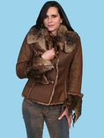 Scully Ladies' Honey Creek Faux Fur Jacket: Faux Fur and Suede Java