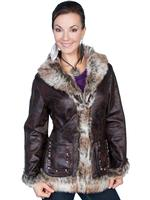 Scully Ladies' Honey Creek Faux Fur Jacket: Faux Shearling Laced Seams Dark Brown Backordered