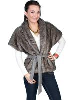 ZSold Scully Ladies' Honey Creek Faux Fur Wrap: Faux Cropped Shawl Collar Gunmetal M-XL SOLD