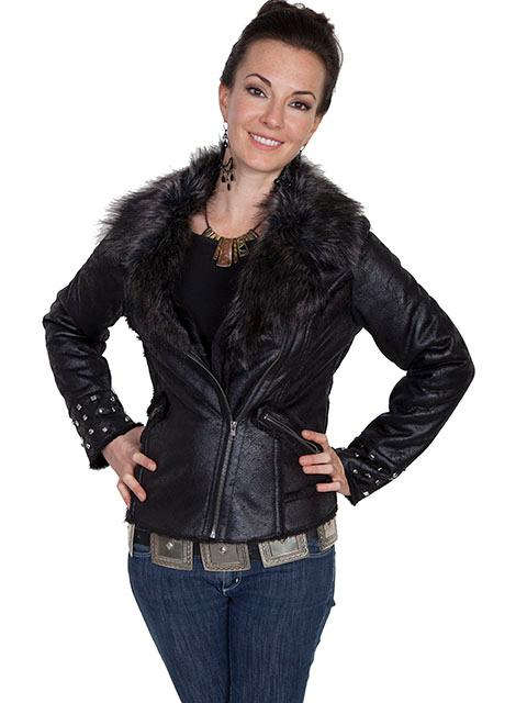 Scully Ladies' Honey Creek Faux Fur Jacket: Motorcycle Style