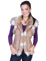 Scully Ladies' Honey Creek Faux Fur Vest: Faux Shearling Hazelnut S-2XL