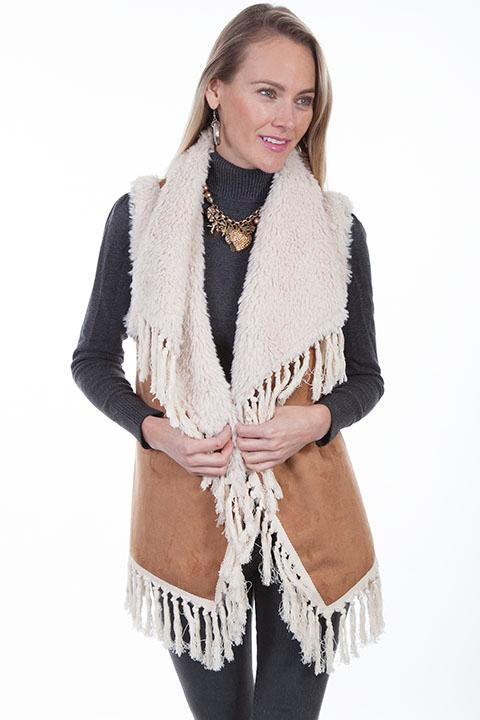 Scully Ladies' Honey Creek Faux Fur Vest: Shearling with Fringe