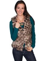 Scully Ladies' Honey Creek Faux Fur Vest: Faux Fur Brown M SALE