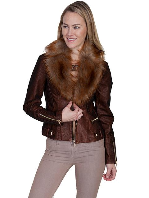 Scully Ladies' Honey Creek Faux Fur Jacket: Faux Suede with Zippers