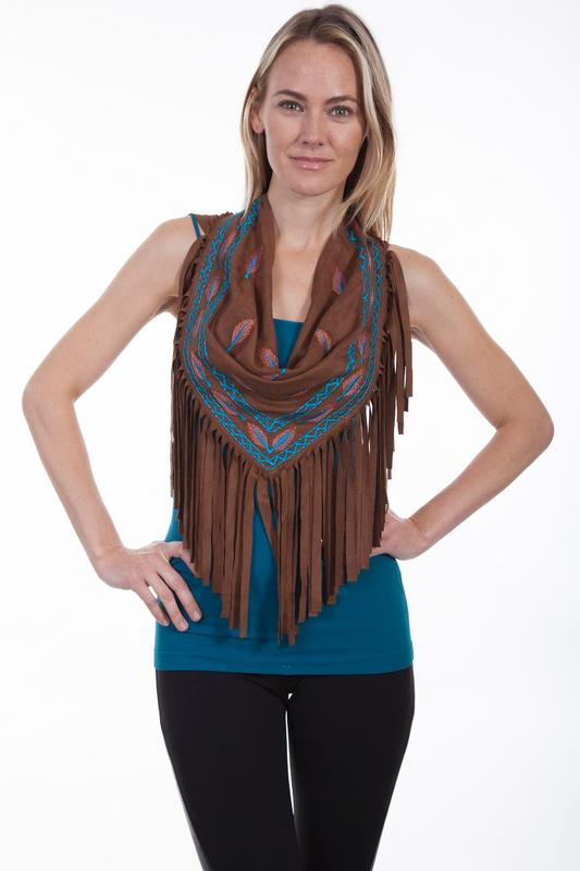 Z Sale Scully Ladies' Honey Creek Collection Accessory: Neckwear with Fringe and Feather Embroidery SALE