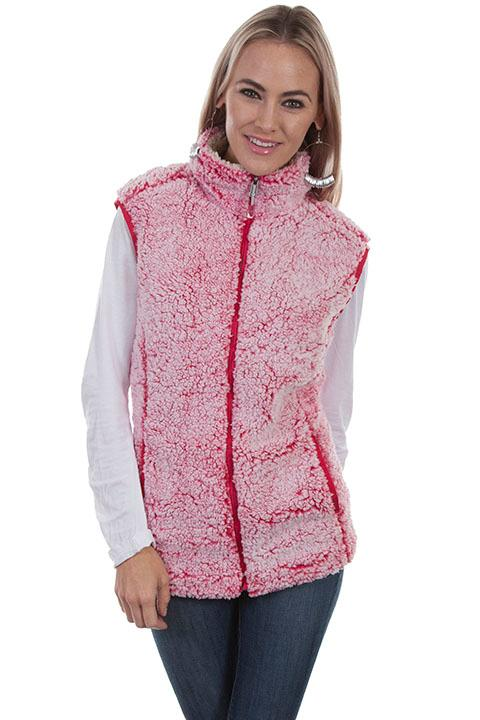 Scully Ladies' Honey Creek Faux Fur Vest: Sherpa Cherry Pink