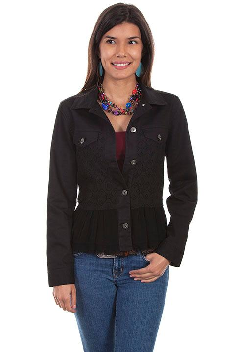 Scully Ladies' Honey Creek Collection Jacket: Lace Insert and Ruffle Black