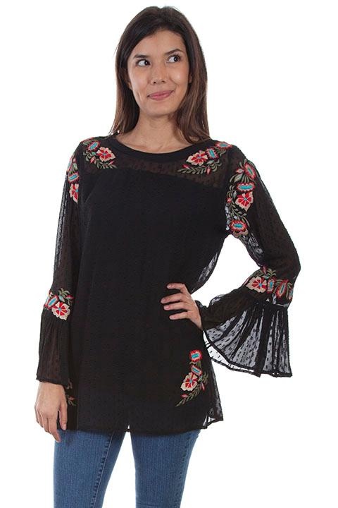 A Scully Honey Creek Blouse: Embroidered Swiss Dot Tunic