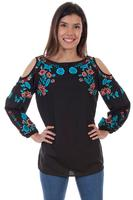 A Scully Honey Creek Blouse: Embroidered Cold Shoulder Tunic