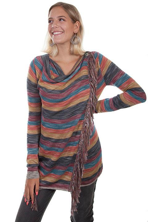 Scully Ladies' Honey Creek Collection Sweater: Multi Color Stripe with Fringe
