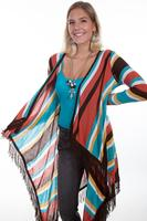 Scully Ladies' Honey Creek Collection Sweater: Stripe with Fringe