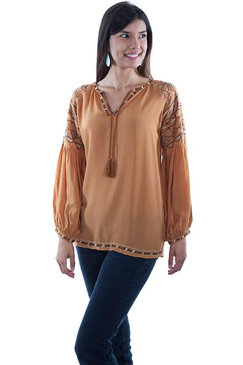 Scully Ladies' Honey Creek Blouse: Poet Sleeves with Embroidery