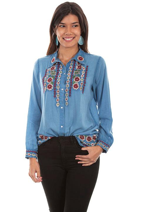 Scully Ladies' Honey Creek Blouse: Floral Embroidery
