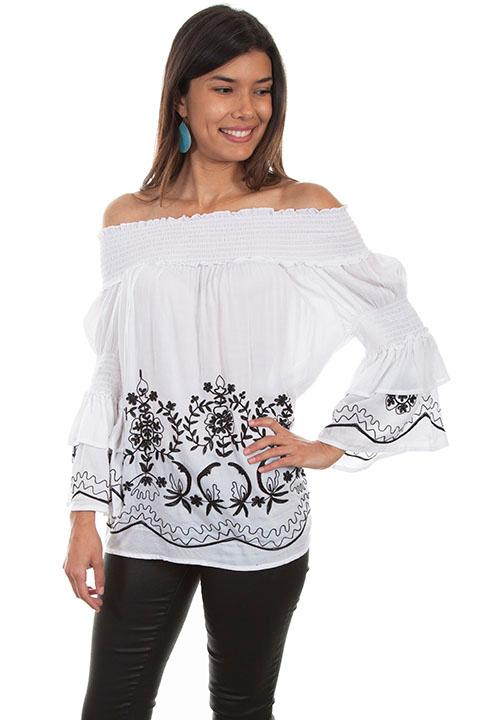 Scully Ladies' Honey Creek Blouse:  Off the Shoulder Peasant