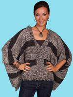 Scully Ladies' Honey Creek Collection Sweater: Poncho Gray One Size SALE