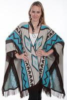 Scully Ladies' Honey Creek Collection Accessory: Wrap with Fringe Geometric Design M-XL