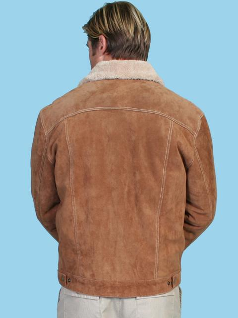 Scully Men's Leather Jacket: Casual Suede Denim Style w Faux Fur Cafe Brown Big Backordered