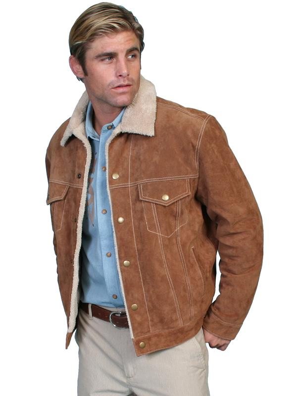 45e123eb6 Scully Men's Leather Jacket: Casual Suede Denim Style w Faux Fur Cafe Brown  Backordered