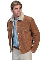 Scully Men's Leather Jacket: Casual Suede Denim Style w Faux Fur Cafe Brown Backordered