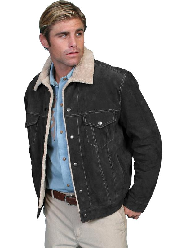 Scully Men's Leather Jacket: Casual Suede Denim Style w Faux Fur Black Big