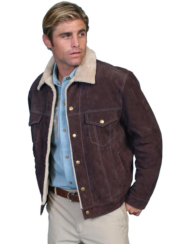 Scully Men's Leather Jacket: Casual Suede Denim Style w Faux Fur Chocolate