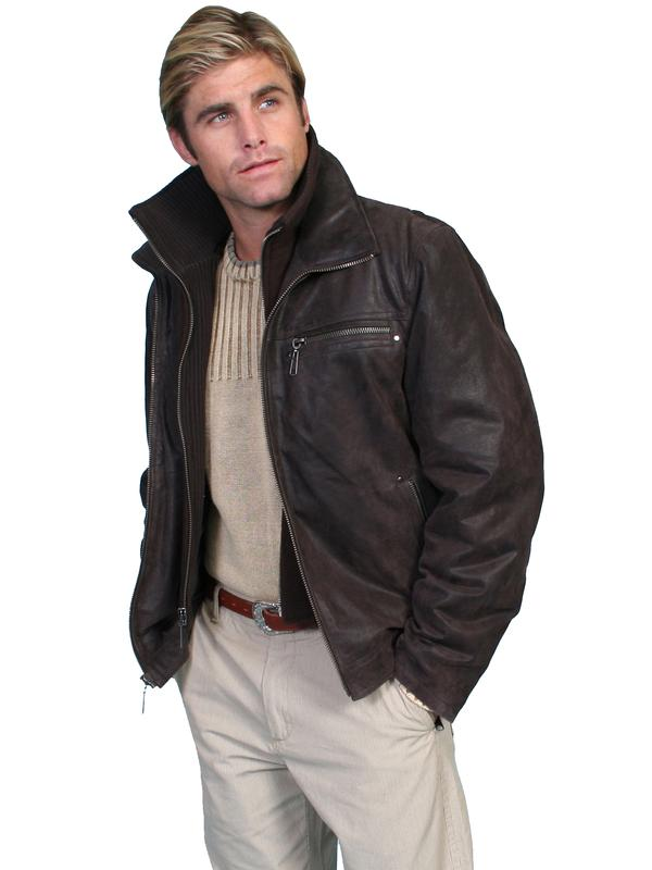 Scully Men's Leather Jacket: Casual Leather with Knit Front Brown