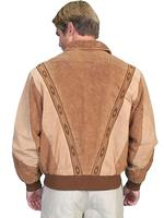 Scully Men's Leather Jacket: Casual Suede w Knit Inset Cafe Brown and Camel