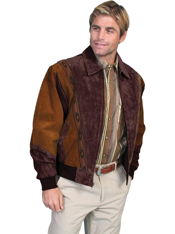 Scully Men's Leather Jacket: Casual Suede w Knit Inset Cafe Brown and Chocolate Big