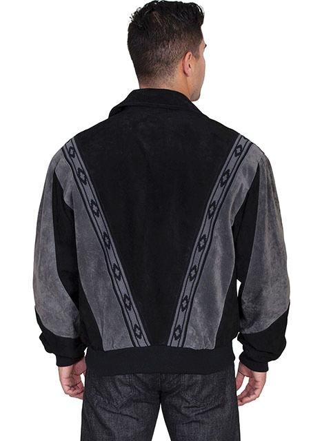 Scully Men's Leather Jacket: Casual Suede w Knit Inset Black with Grey Trim Big