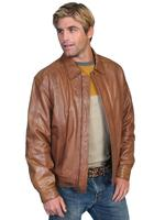 Scully Men's Leather Jacket: Casual Lambskin Zip Front Cognac