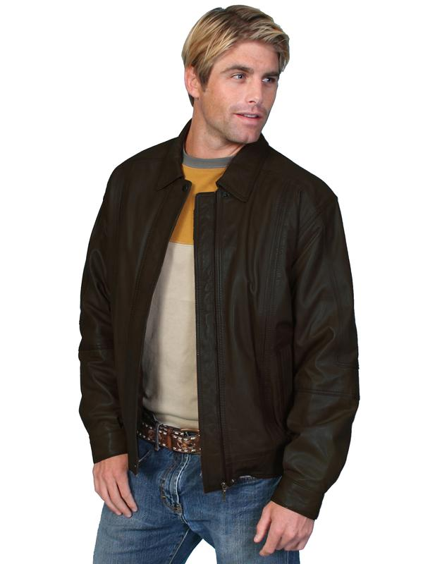 Scully Men's Leather Jacket: Casual Lambskin Zip Front Black