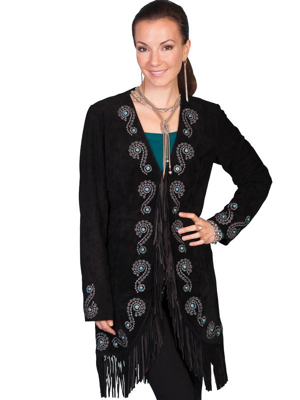 A Scully Ladies' Leather Suede Jacket: Western Embroidered Car Coat with Silver and Turquoise
