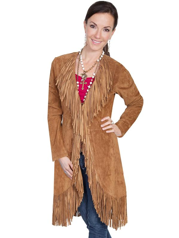 53a83f7a1a2f A Scully Ladies  Leather Suede Jacket  Western Fringe Coat Cinnamon ...