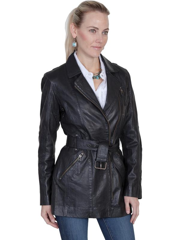 A Scully Ladies' Leather Jacket: A Car Coat Lamb with Zippers Black
