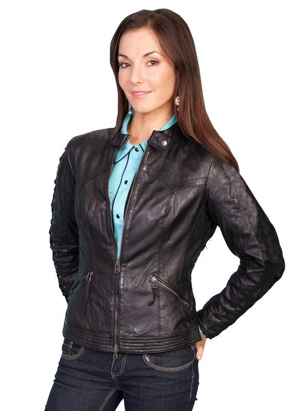 A Scully Ladies' Leather Jacket: Casual Lamb Zip Black S-2XL