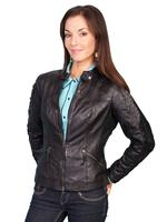 A Scully Ladies' Leather Jacket: Casual Lamb Zip Black