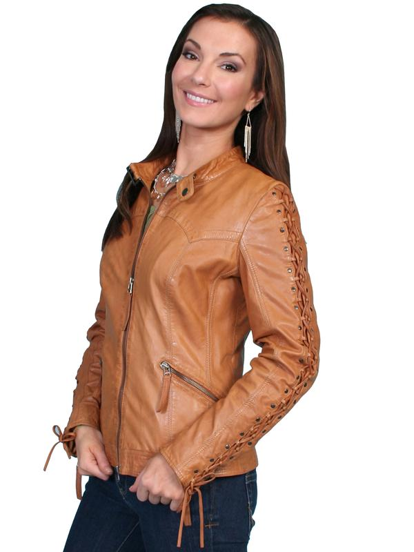 A Scully Ladies' Leather Jacket: Lamb Zip Saddle Tan