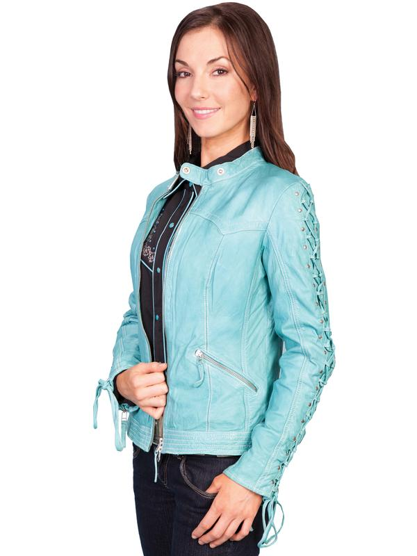 A Scully Ladies' Leather Jacket: Casual Lamb Zip Blue River